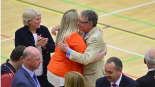 A hug as Mike Nesbitt, UUP, is elected on the first count