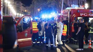 Olay yerindeki ambulanslar