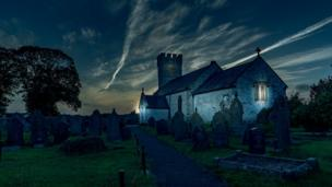 Pennard Church at night time