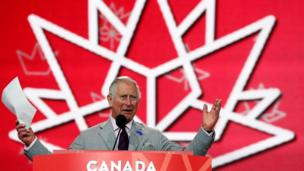 Prince Charles addresses the crowd in Ottawa