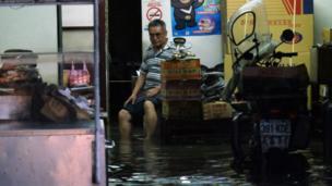 水淹進新北的一個房子裏面