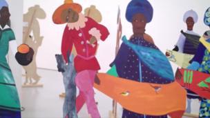 Ses tableaux sont des portraits de peuples noirs qu'elle réussit à exposer dans des galeries fréquentées en majorité par des visiteurs blancs.