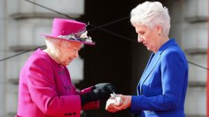 The Queen and Louise Martin, the President of the Commonwealth Games Federation