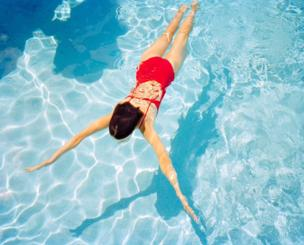 A girl in a swimming pool