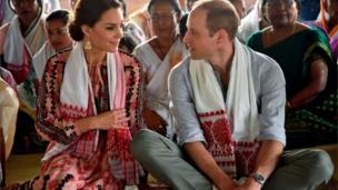 "Prince William and his wife Catherine, the Duchess of Cambridge, visit a ""Namghar"", an Assamese site of congregational worship, in Panbari village in Kaziranga"