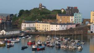 Coloured houses around the harbour in Tenby taken by Jon Bolter