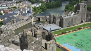 A birds eye view from the tower of Pembroke Castle, by Nigel Miller