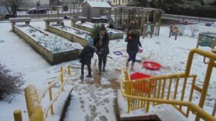 Snowy school playground in East Ayrshire