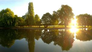 The summer sunrise over the Isis and Christchurch meadows