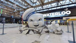 Stay Puft Marshmallow Man at Waterloo Station in London