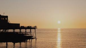 Sun setting over Aberystwyth