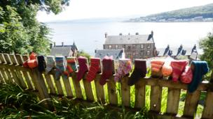 Socks on a fence