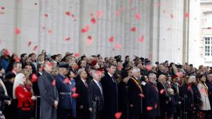 Britain dia Princess Anne (C) celebrate Remembrance Day for Belgium on November 11, 2017