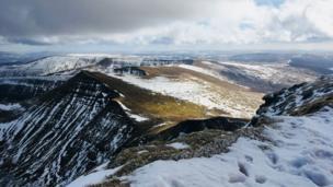 A snowy Pen y Fan in the Brecon Beacons