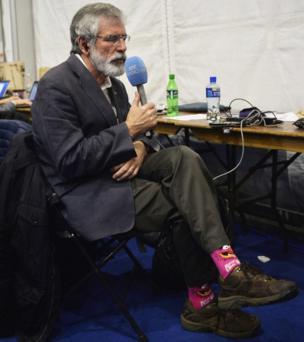 """Sinn Féin leader Gerry Adams's """"Animal"""" socks caused a stir on social media"""