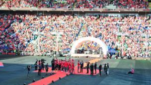 Thousands of fans inside Cardiff City Stadium