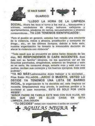 Panfleto firmado por Águilas Negras