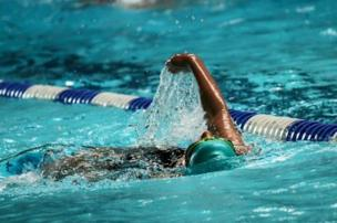 A swimmer in the pool