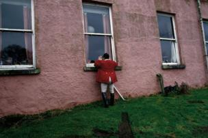 Huntsman of the North Galway Foxhounds John Pickering at Bermingham House outside Tuam, County Galway