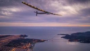 Solar Impulse 2 over the Golden Gate bridge in San Francisco, US. Photo: 23 April 2016