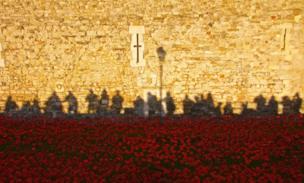 La instalación de conmemoración de la Primera Guerra Mundial en la Torre de Londres