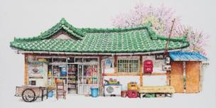A small corner convenient store in South Korea