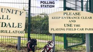 Lucy and Poppy at a polling station in Crundale