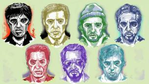 Illustrationz of film charactas played by Al Pacino