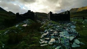 ruins at Cwmorthin near Blaenau Ffestiniog in Gwynedd