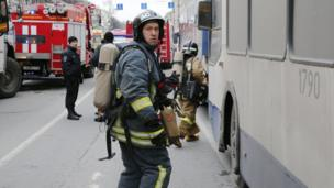 Emergency services rushed to the scene at Tekhnologichesky Institute metro station to tend to the wounded