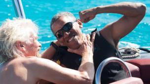 बराक ओबामा अपने मित्र रिचर्ड ब्रेन्सन के साथ