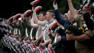 Military bands rehearsing