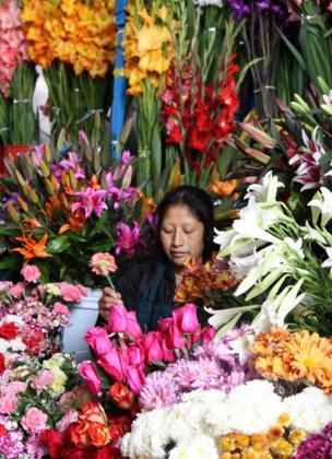 Una vendedora de flores