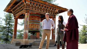 Duke and Duchess of Cambridge on their way to the Tiger's Nest monastery in Bhutan on 15 April 2016