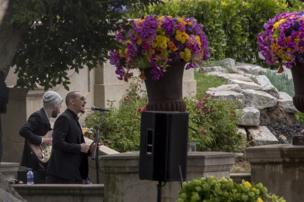 Brad Delson and Chester Bennington perform during funeral services for Soundgarden frontman Chris Cornell at Hollywood Forever Cemetery on May 26, 2017 in Hollywood, California.
