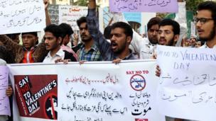 巴基斯坦城市卡拉奇反情人節示威