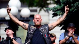 Right-wing demonstrators taunt counter-demonstrators during the Denver March Against Sharia Law in Denver, Colorado on June 10, 2017.