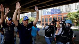 Henrique Capriles en la marcha opositora