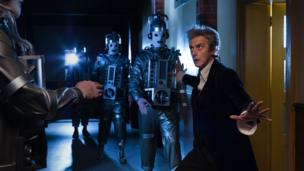 Peter Capaldi filming with Cybermen