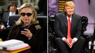2011-kii, Hilary Clinton oo ahayd Xoghayaha Arrimaha Dibedda ee Maraykanka ayaa daalacaneyso fariin iyadoo saaran diyaarad kuna socotay Liibiya. Trump wuxuu dhageysanayaa dad maamuus ku leh Maraykanka oo xaflad kaftan ah isugu yimi
