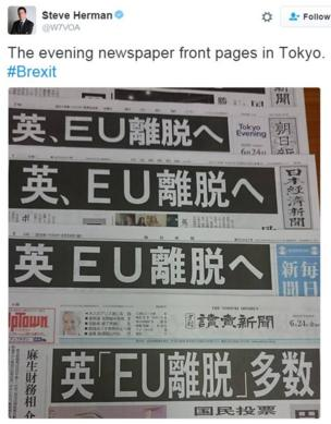 """""""The evening newspaper front pages in Tokyo. #Brexit"""""""