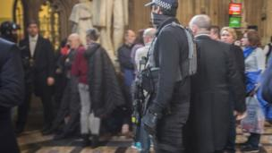 Armed police inside the Palace of Westminster