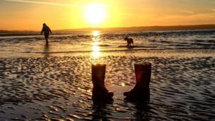 Wellies on Penmaenmawr Beach
