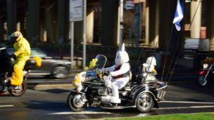 Easter bunny on motorbike