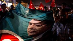 People take to the street in support of President Recep Tayyip Erdogan