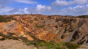 The remnants of opencast mining at Parys Mountain on Anglesey