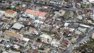 Wrecked houses from above