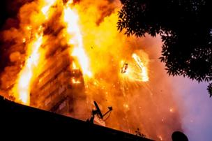 The scene of a huge fire at Grenfell tower block in White City, London
