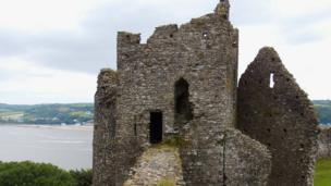 Llansteffan Castle, in Carmarthenshire, with a view of the estuary towards ferryside
