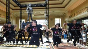 A 10-foot statue of Michael Jackson is unveiled at the Mandalay Bay Resort in Las Vegas